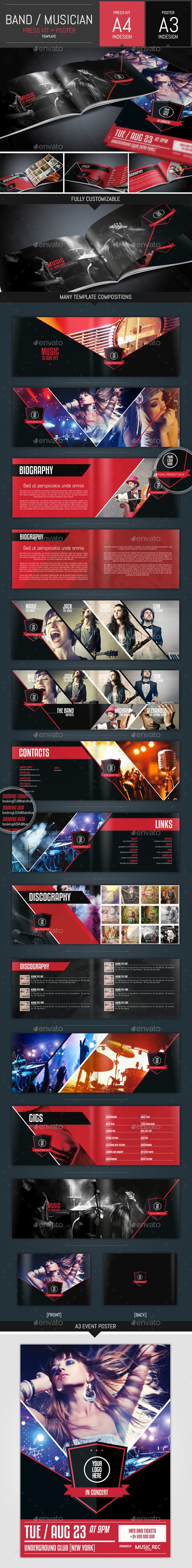 Music Band Pack Presskit Poster Template Poster Template Music Bands Print Design Template