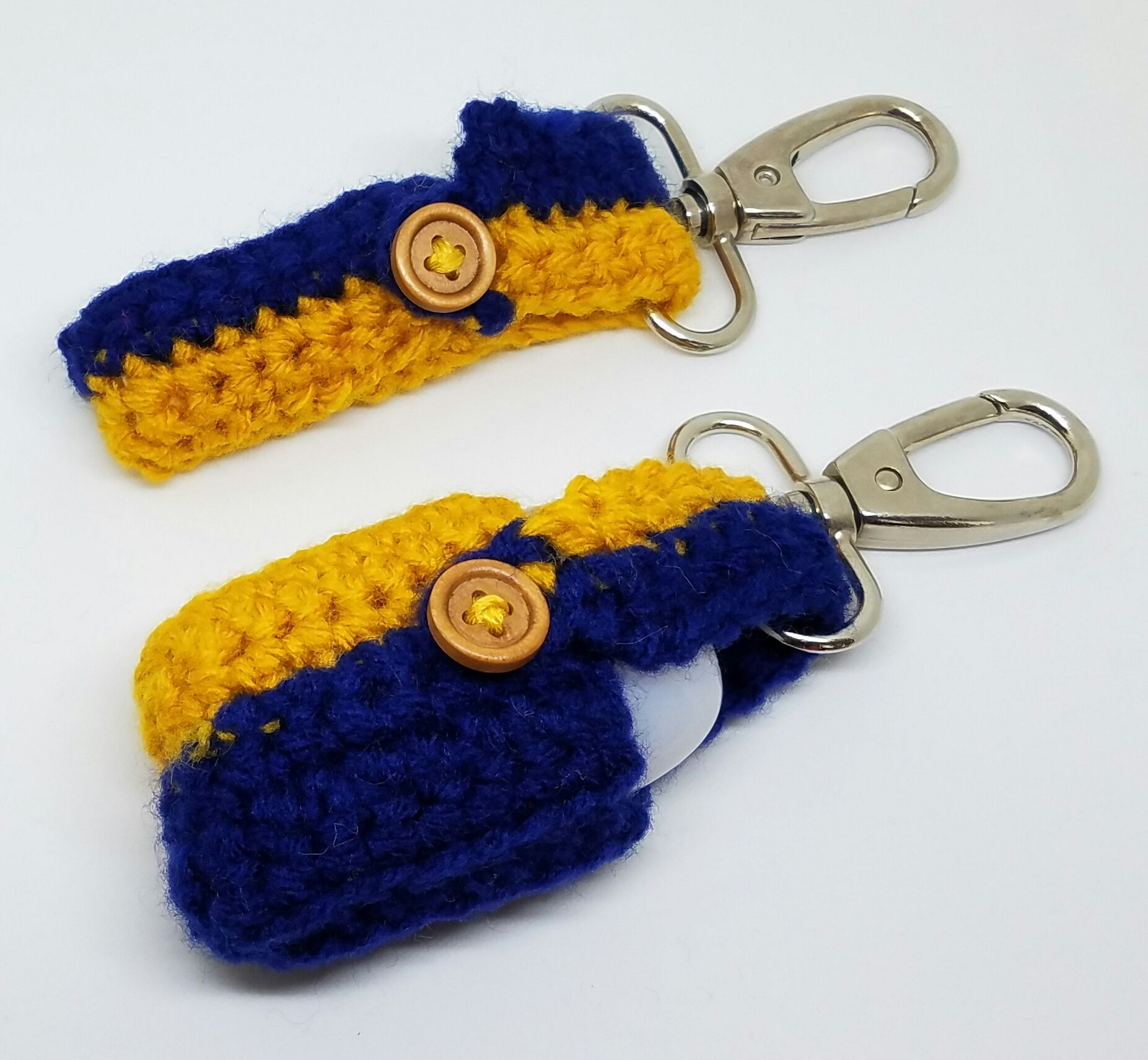 Team Colors Blue And Gold Hand Sanitizer And Chapstick Holder