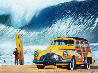 Wall Mural Decor With Surf And Car Beach Wall Mural