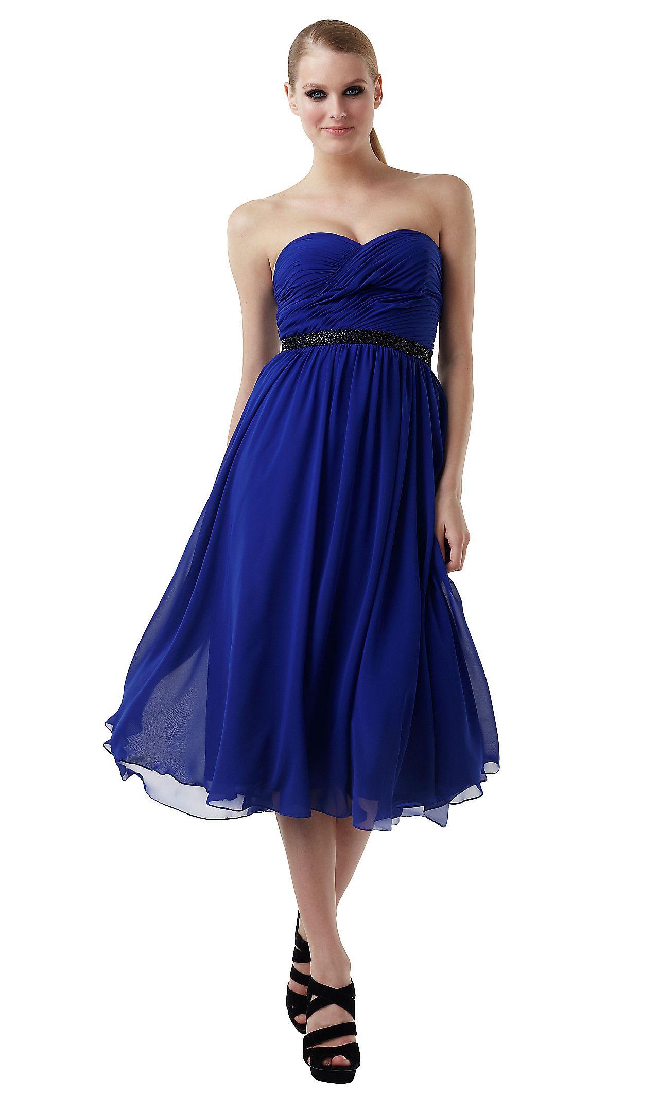 Royal blue bridesmaids dress knee length brides maids dresses