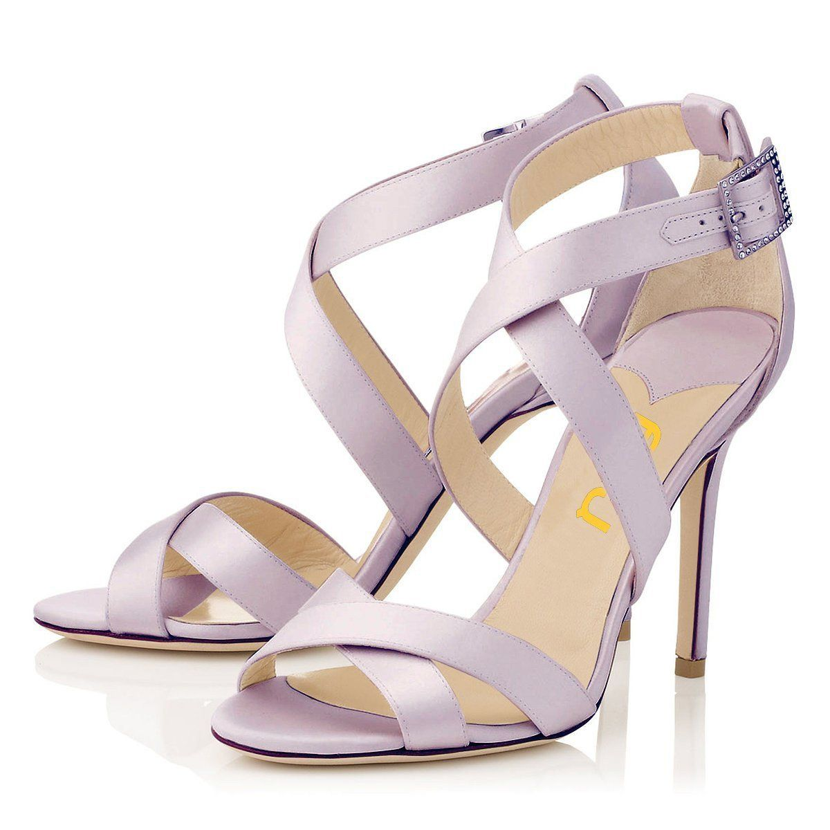 Fsj Viola Purple Crossed Sandals Wedding Shoes Gallery In 2019