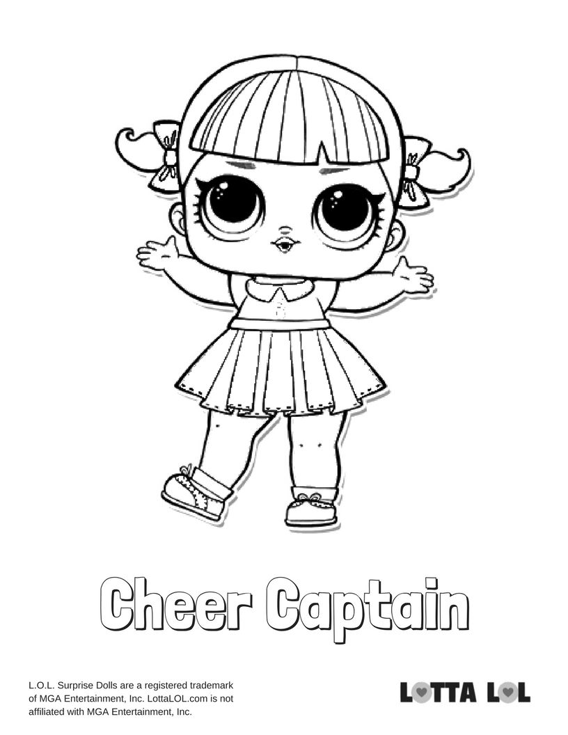 Cheer Captain Coloring Page Lotta Lol Cheer Captain Coloring