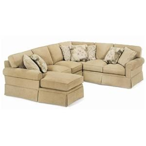 Huntington House Sofa Covers Brown Microsuede 2053 Customizable Spacious Sectional With Chaise ...