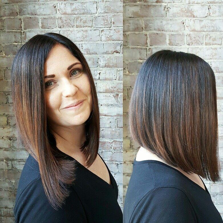 Brunette ombre balayage long Bob hair colors Pinterest