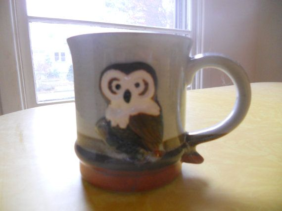 Pottery owl coffee mug by AppleHouseVintage on Etsy, $5.00