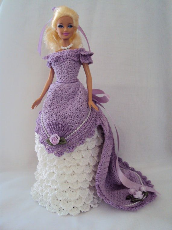 Victorian Era 11 1/2  Fashion Doll Dress Crocheted #beddollsandcrocheted1112sizedolldresses