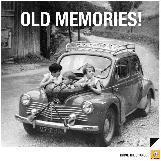Een wel hele originele zitplaats! Een leuke foto van een 4CV van Renault Nederland.