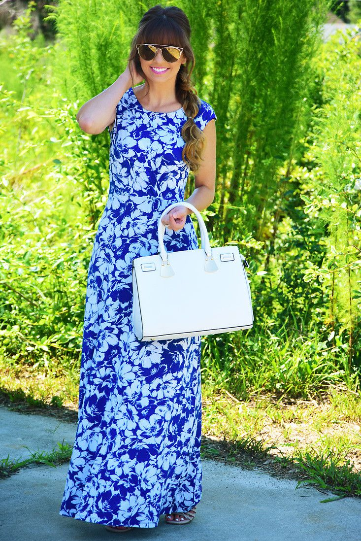 She's A Wild Flower Maxi Dress: Blue/White #shophopes
