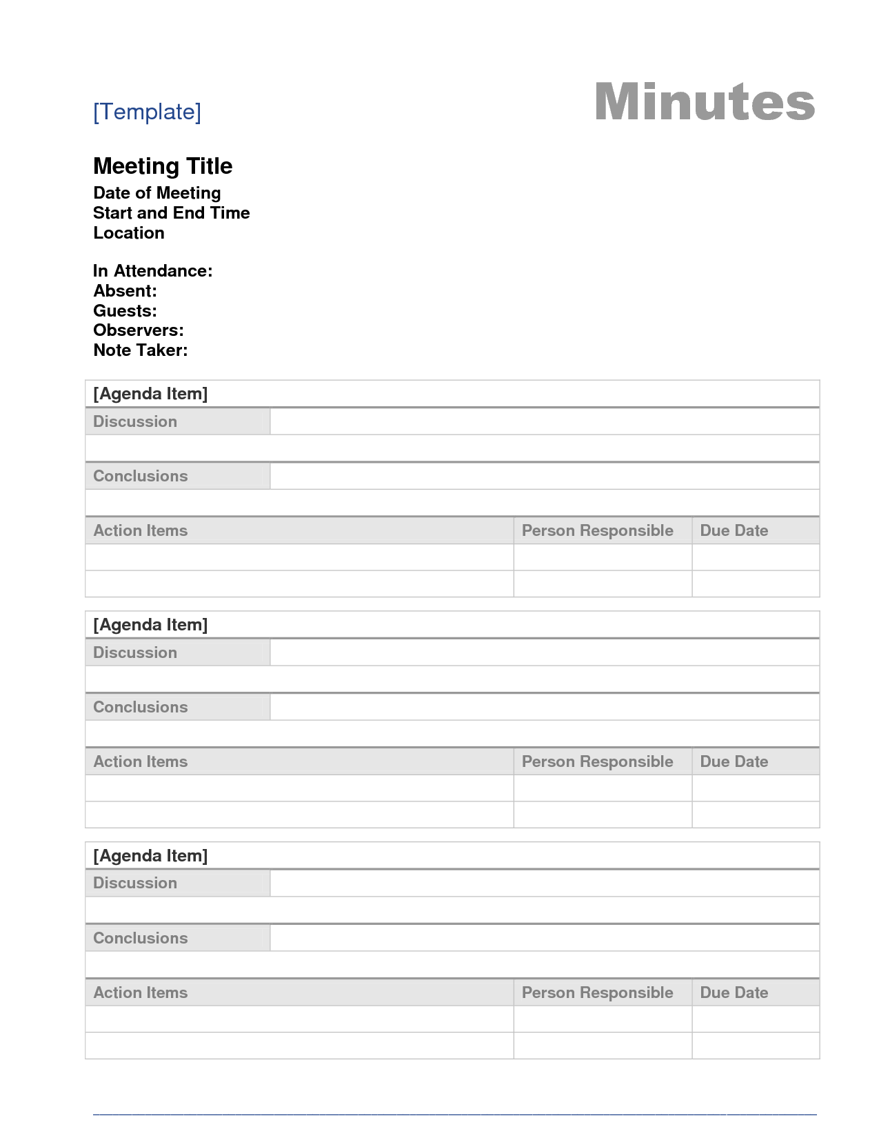 Printable Template Of Meeting Minutes Board Meeting Minutes