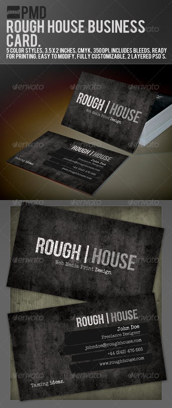 Pmd rough house grunge business card pinterest print templates pmd rough house grunge business card business cards print templates reheart Images