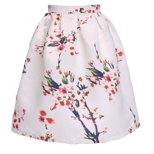 Minetom Damen Röcke Fashion Sommerkleid Blumen Sommer knielang Weiß ...