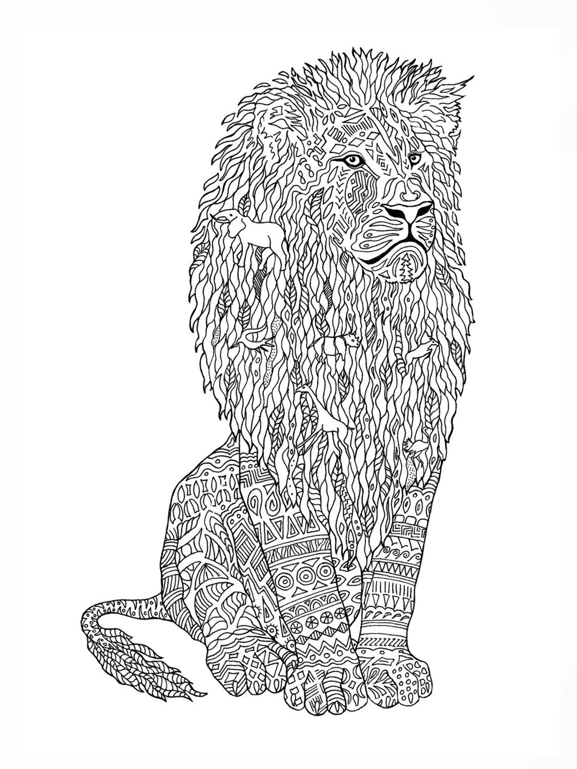 Lion coloring book page by colormefreelife on etsy coloring