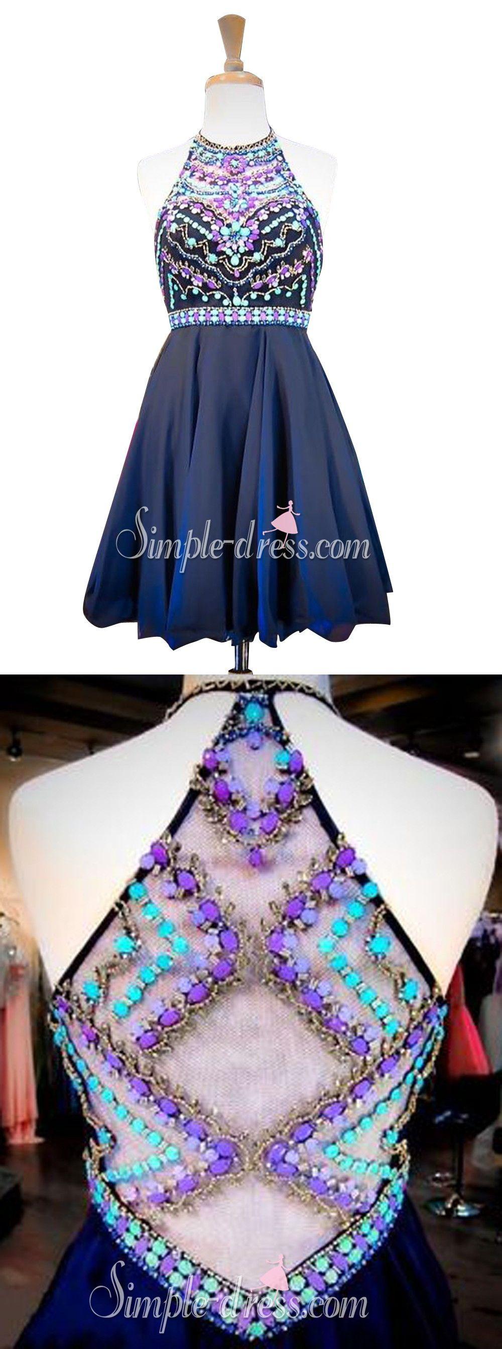 Sexy halter short illusion back dark navy homecoming dress with