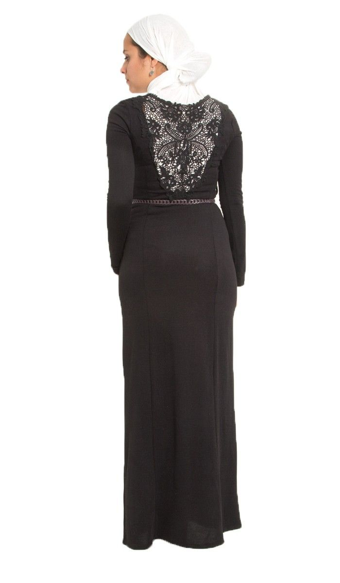 89ef50573de0 Reena Long Lace Black Islamic Long Dress Abaya | kaftans, maxi dresses and  long sleeve dresses for women | Islamic Dresses at Artizara.com