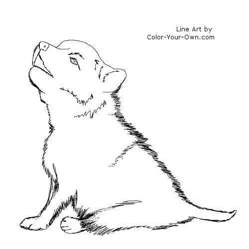 wolf coloring pages for kids  wolf puppy coloring page pic 1