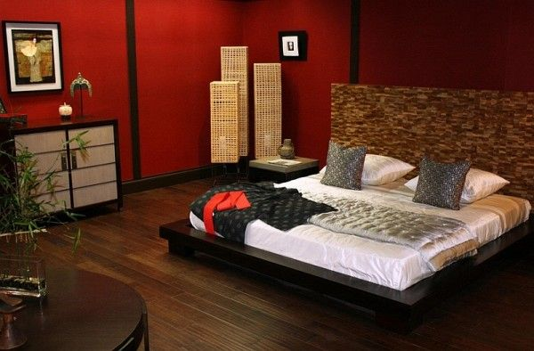 Asian Style Master Bedroom In Red
