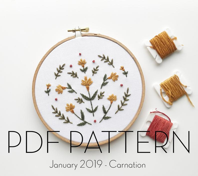January Floral Embroidery Pattern Carnation Embroidery Etsy Floral Embroidery Patterns Embroidery Kits Digital Embroidery Patterns