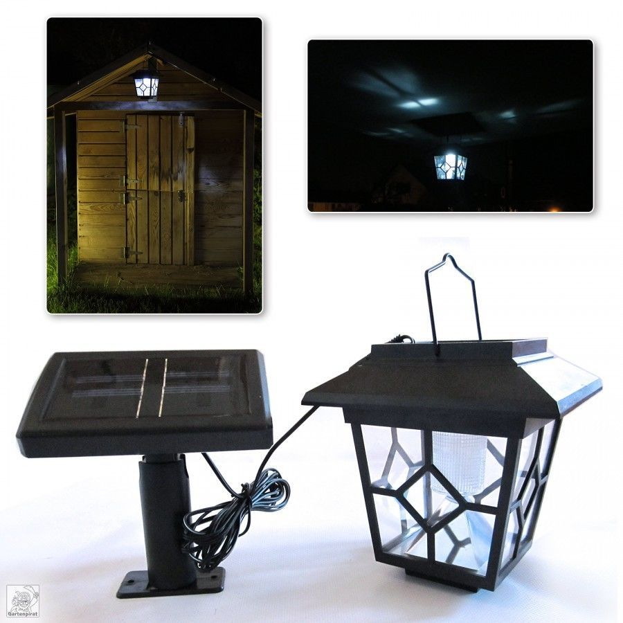 solar laterne led mit externer solarzelle als lampe f r gartenhaus. Black Bedroom Furniture Sets. Home Design Ideas
