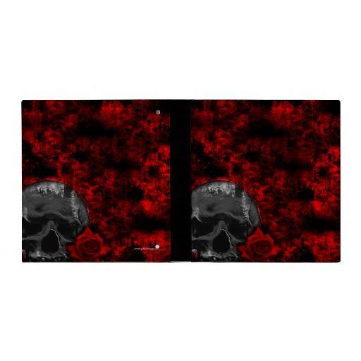 Skull and Rose Goth Grunge Art Binder