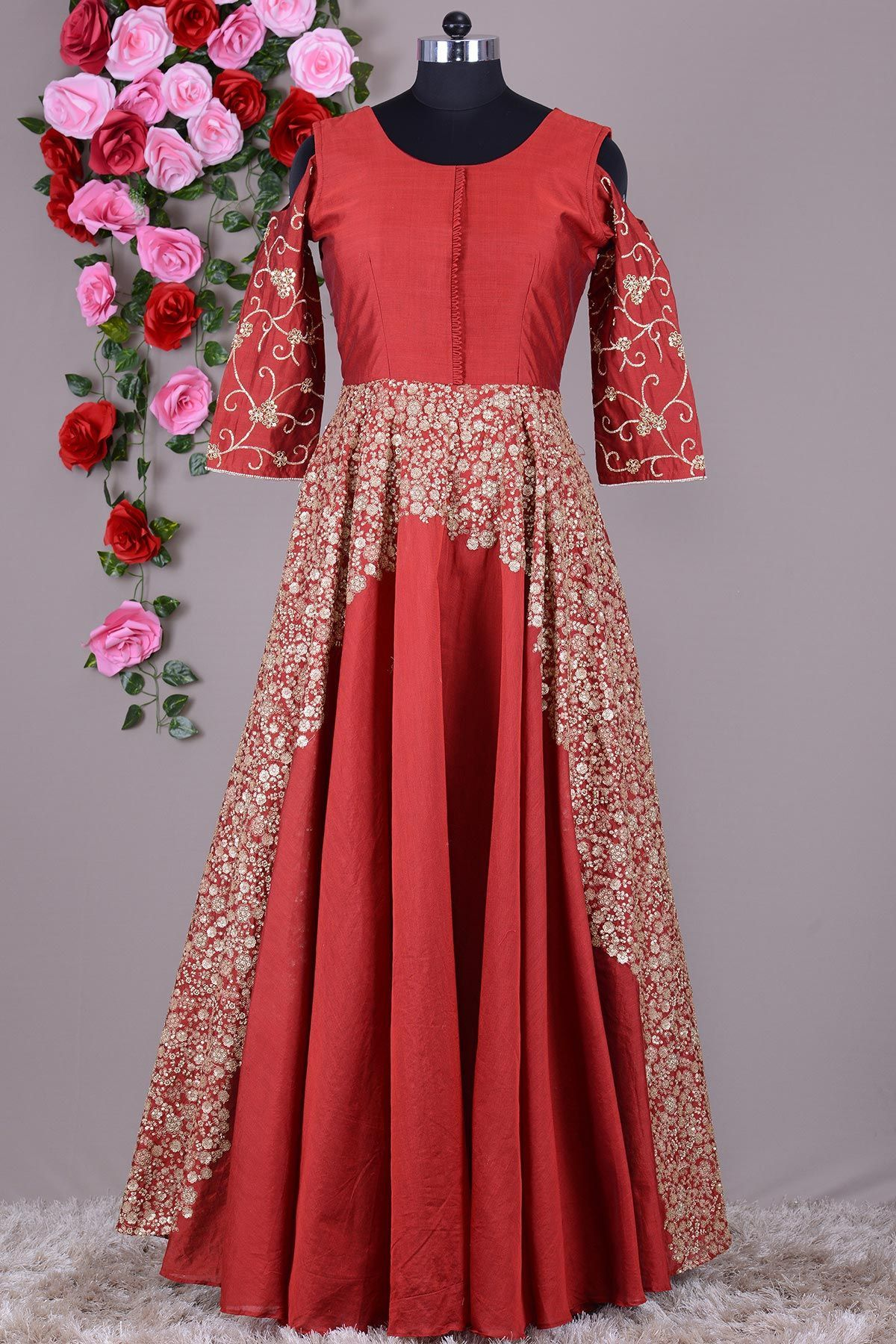 Red Black Dual Tone Sequins Embroidered Silk Evening Gown Vh5933 Silk Evening Gown Evening Gowns Evening Gowns Online