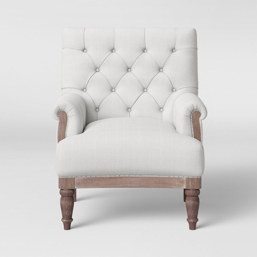 Marvelous Alford Rolled Arm Tufted Chair With Turned Legs Cream Pabps2019 Chair Design Images Pabps2019Com