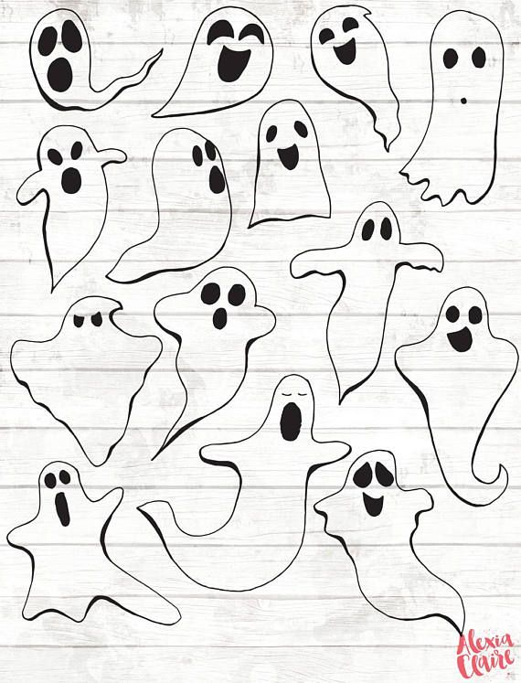 50% OFF Ghost Clipart Hand Drawn Halloween Clip art Ghost ...