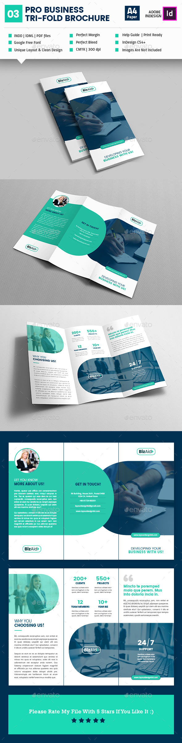 Pro Business TriFold Brochure Template InDesign INDD Brochure - Trifold brochure template indesign