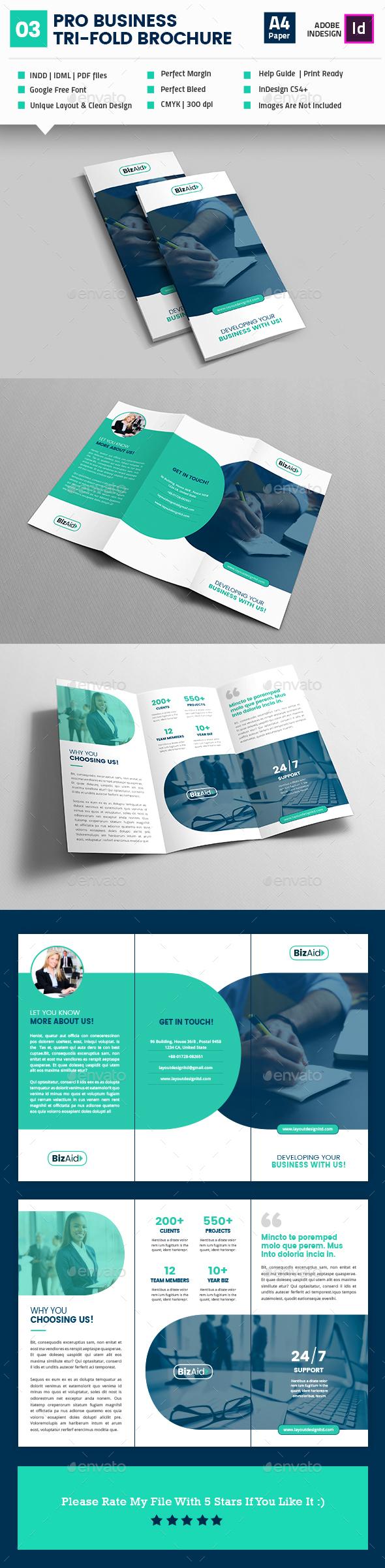 pro business tri fold brochure template indesign indd brochure