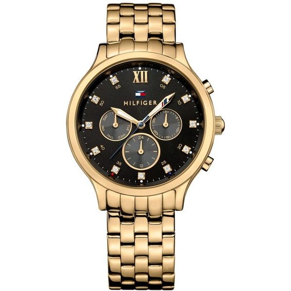 Tommy Hilfiger Women's Sophisticated Sport Gold-Tone Stainless Steel... ($117) ❤ liked on Polyvore featuring jewelry, watches, gold, gold tone watches, watch bracelet, sport jewelry, gold tone bracelet watch and gold-tone watches