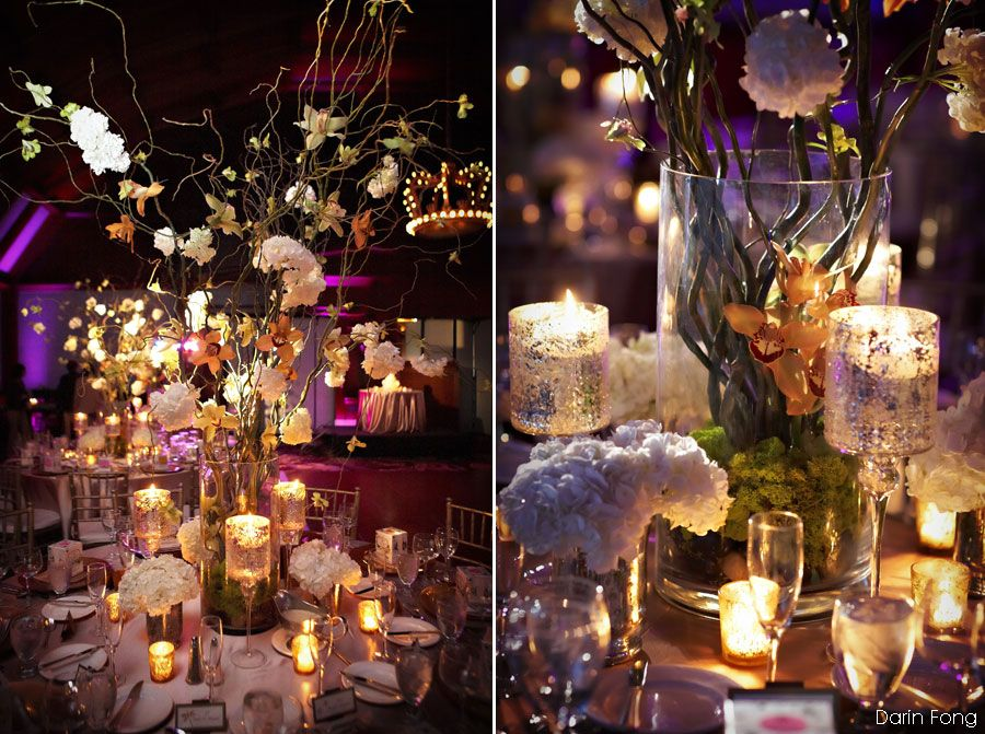 Whimsical Floral And Candle Votive Centerpieces
