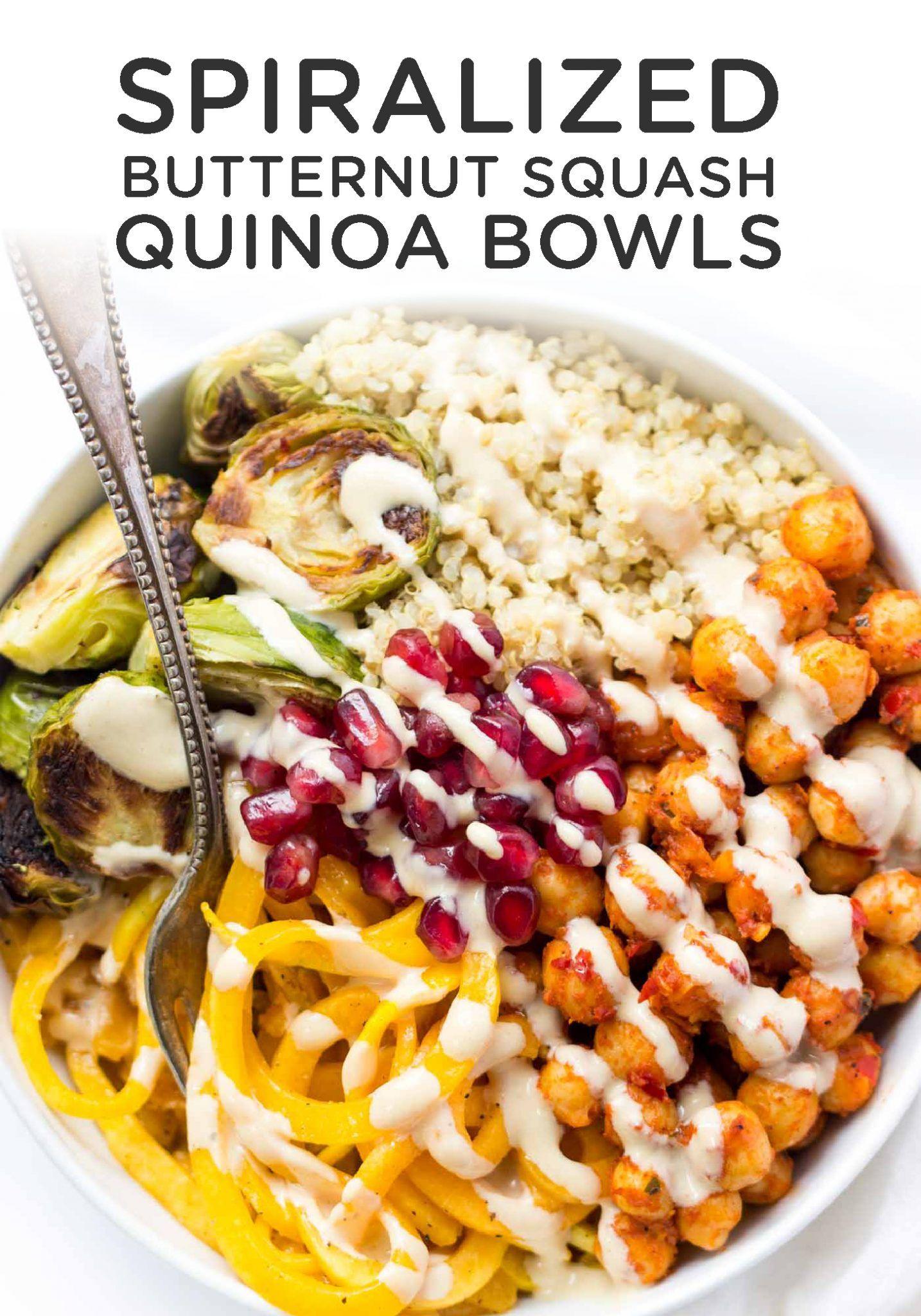 Spiralized Butternut Squash Bowls With Harissa Chickpeas Quinoa
