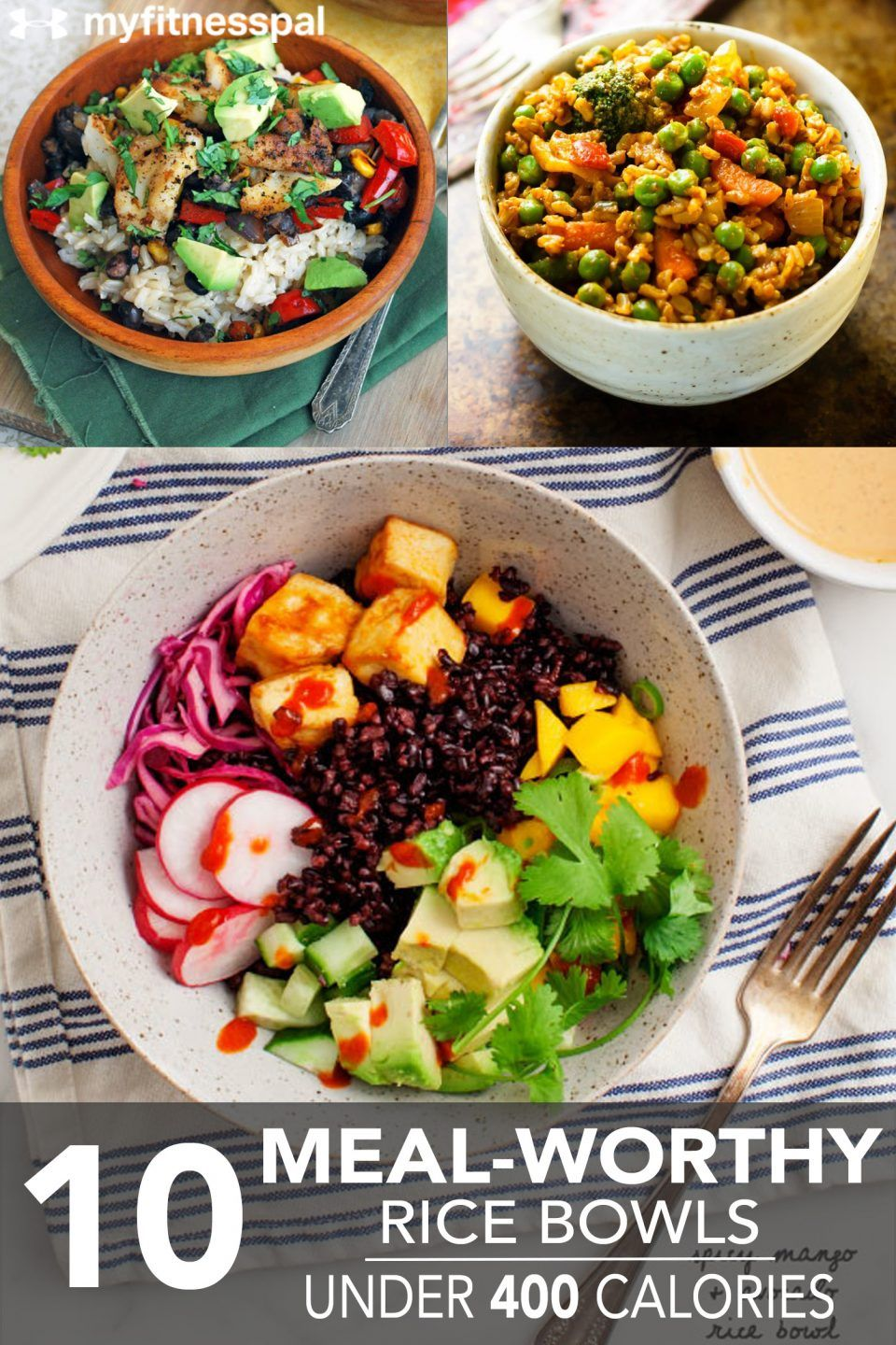 10 Meal Worthy Rice Bowls Under 400 Calories Myfitnesspal Meals Under 400 Calories Healthy Bowls Salad Recipes Under 400 Calories