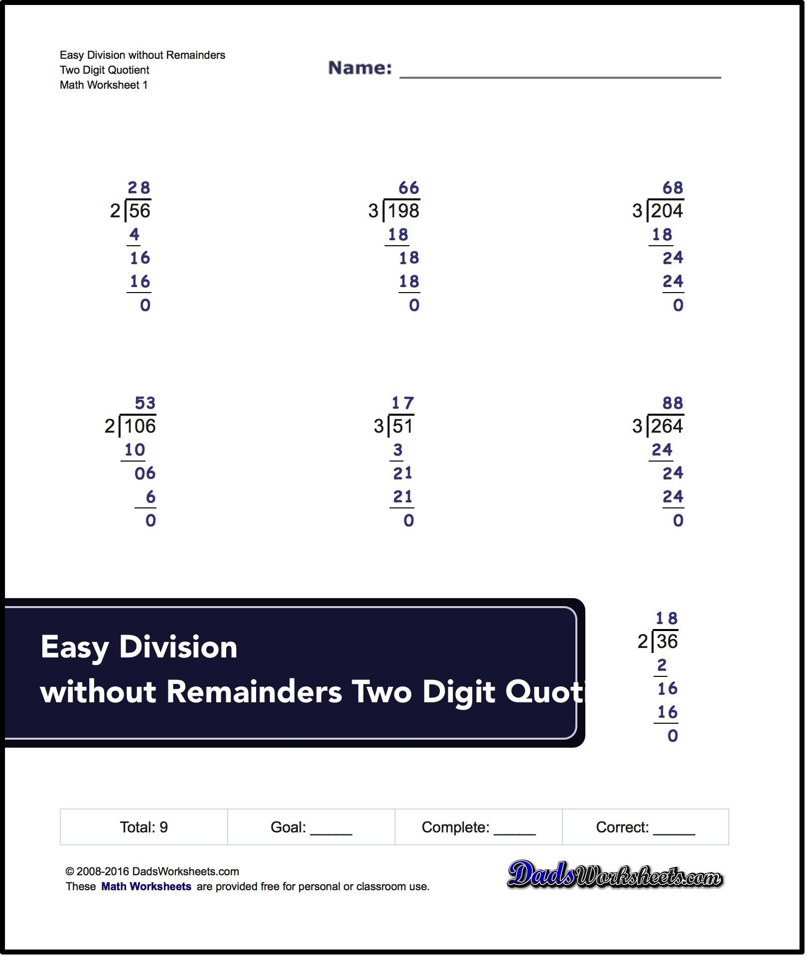 Links to free math worksheets for Long Division problems with and – Long Division No Remainders Worksheets