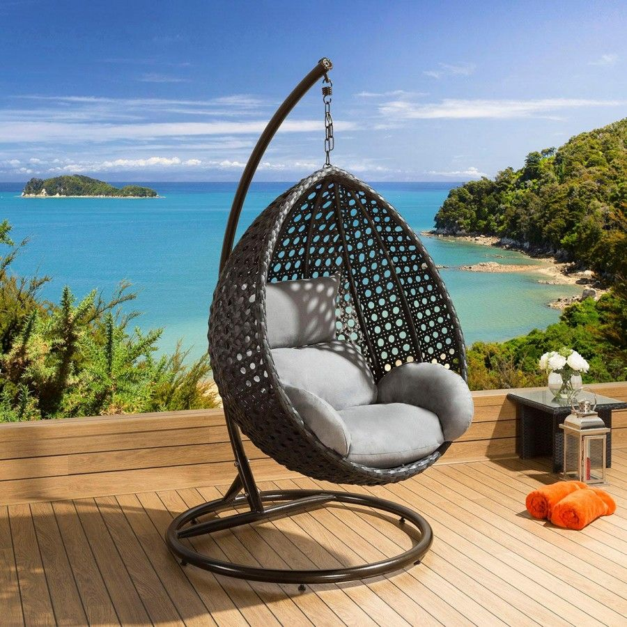 Luxury Outdoor Garden Hanging Chair Black Rattan Grey