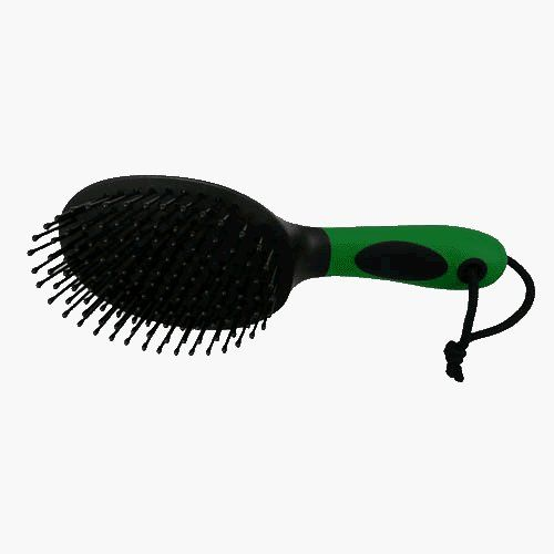 Mane and Tail Brush by Horse Talk. $8.95. Ergonomically designed soft-touch handle is comfortable for hands of all sizes. Great for multi-direction brushing and fewer tangles. Teeth tips are coated to prevent hair breakage. Great for multi-direction brushing and less tangles, the mane and tail brush is an excellent grooming tool. It features sturdy round-tip plastic pin bristles, non-slip grip, and thumb rest for best control.