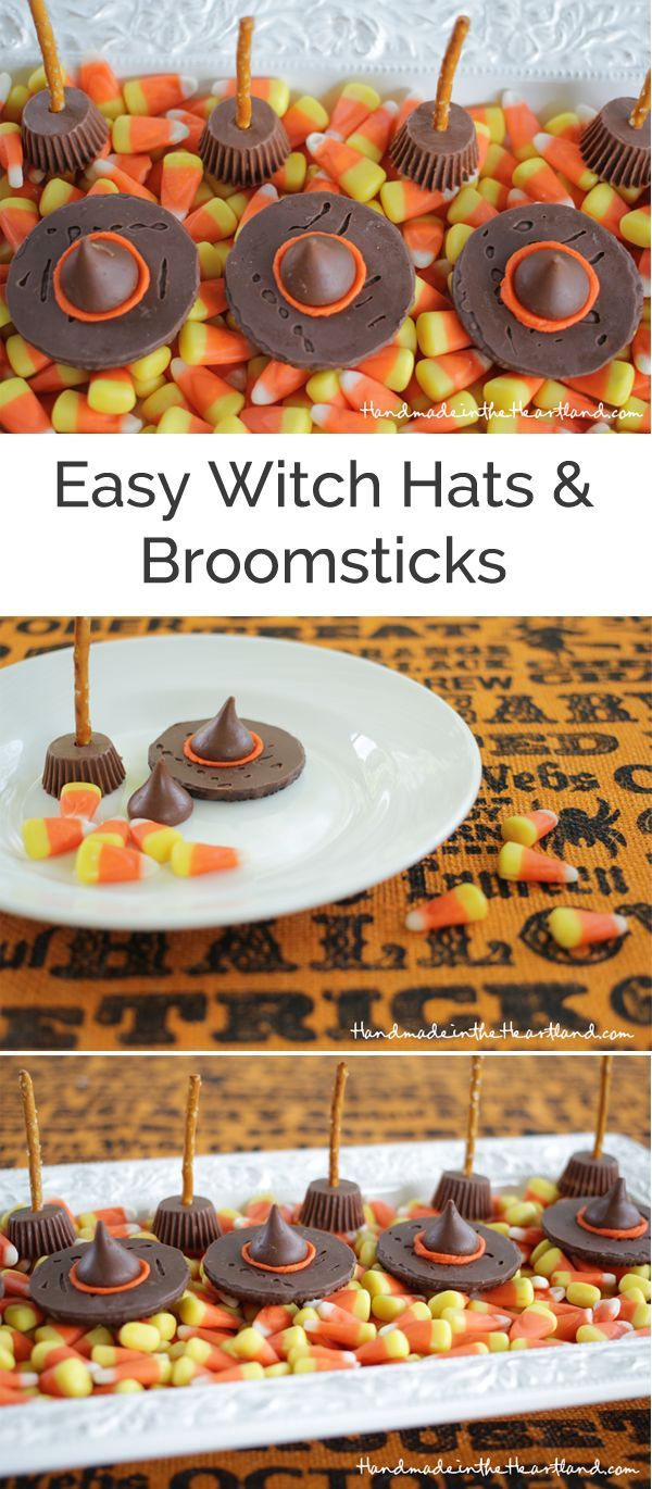 easy candy witch hats & broomsticks | food | pinterest | halloween