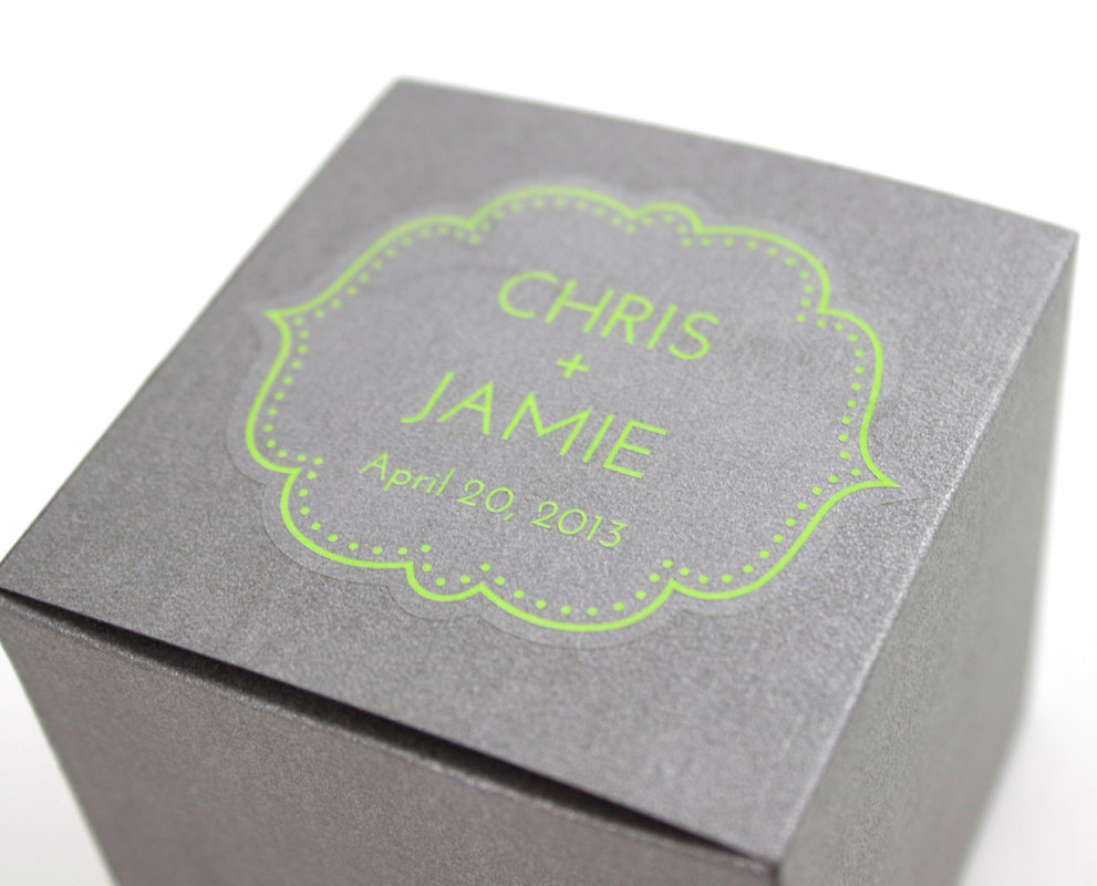 Wedding stickers 48 personalized clear favor stickers 2 25 x