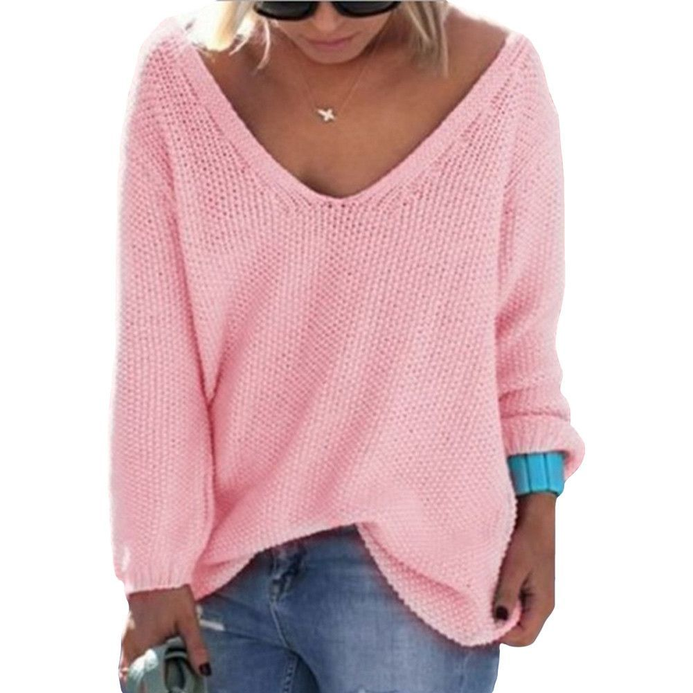Loose Knitted Solid Color Sexy V-Neck Long Sleeve Casual Sweater Jumper Pull Femme Knitwear