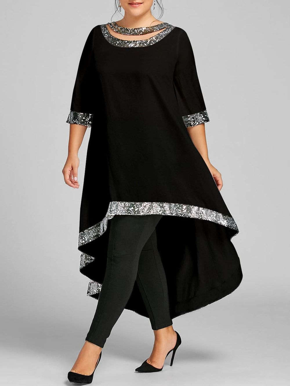 3187283f912  24.14---Plus Size Sequined Hem High Low Dress