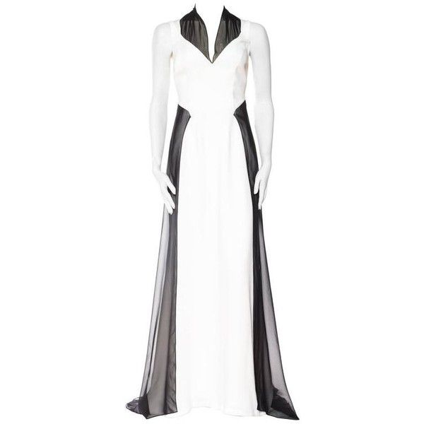 Preowned Backless Thierry Mugler Couture Chiffon Trained Gown Size ...