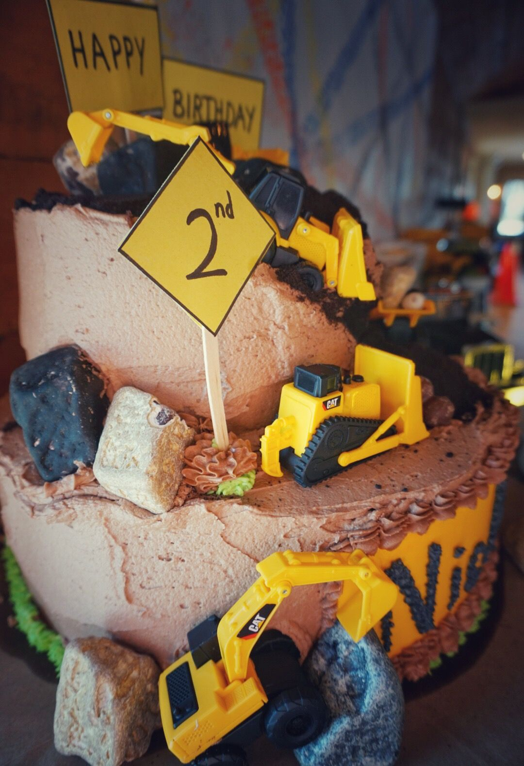 Construction Theme 2nd Birthday Party Dump Truck Semi Backhoe Loader Cake Candy Rocks Cookie Crumb Dirt