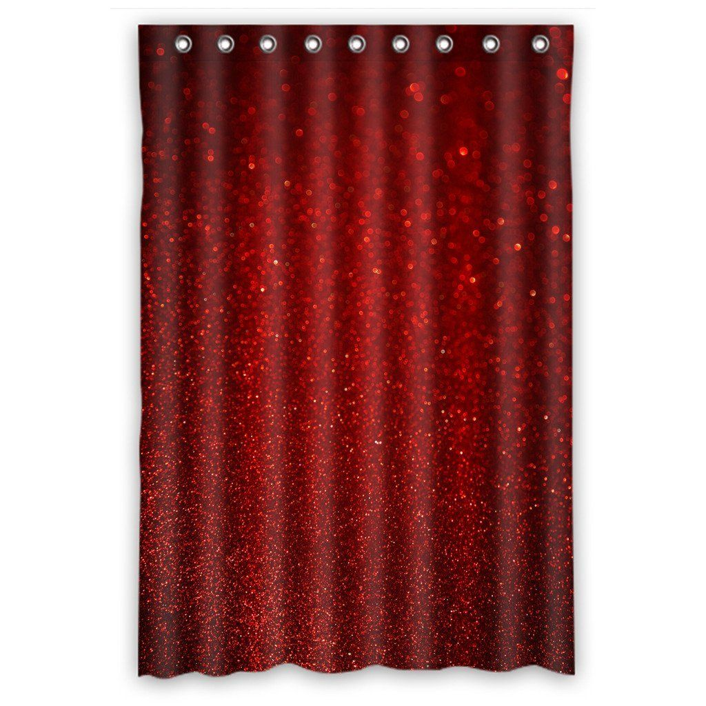 Custom Waterproof Bathroom Shower Curtain 48 X 72 Red Romantic