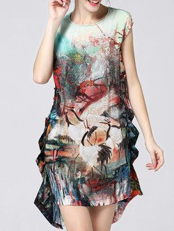 Multicolor Two Piece Short Sleeve Asymmetric Mini Dress