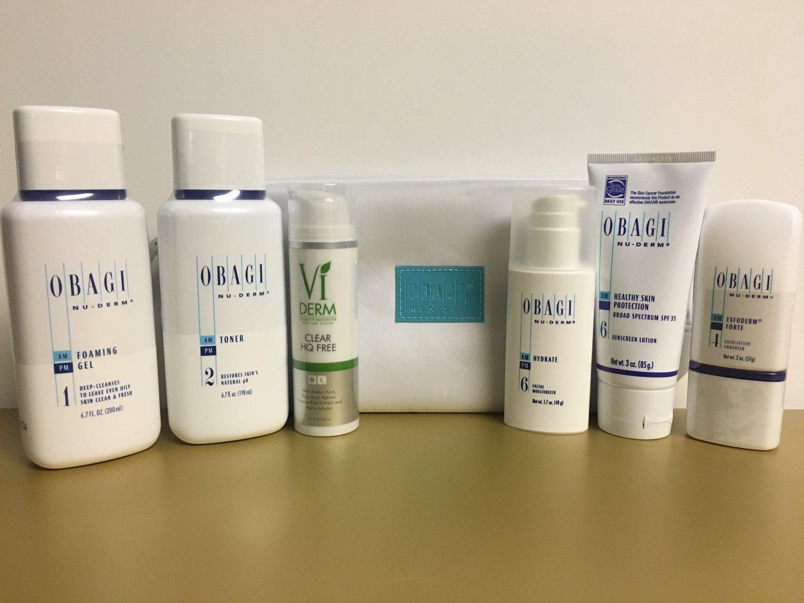 Obagi Nu-Derm  VI DERM Set 6pcs NORMAL/OIL Skin New Sealed Full Size FREE BAG