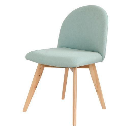 Chaise design avec pieds en bois - Bouleau et tissu - 49 x 53 x H76 cm - Bleu