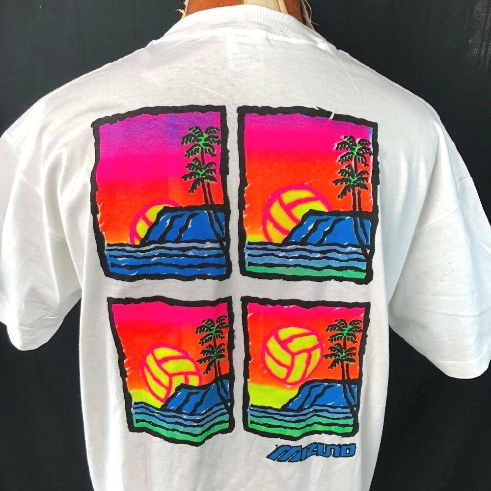 Mizuno Volleyball Dayglo Rising Sun Vtg L T Shirt Large Mens Usa Made 1990s Nos Anvil Shirtstops Smart Dressed Man T Shirt Vintage Tshirts