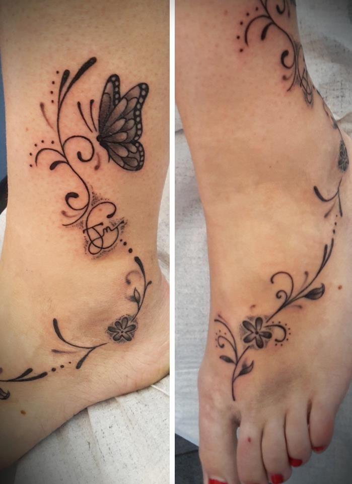 tattoo tatouage papillon arabesque cheville | tatouages | pinterest
