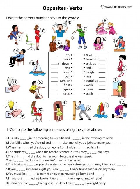 Opposite Verbs worksheets | 6. To be popular private tutor ...