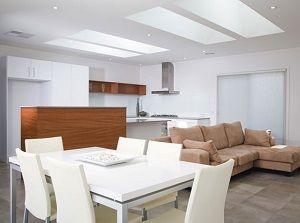 Living room vaulted ceiling lighting ideas skylights pendant lamps ...