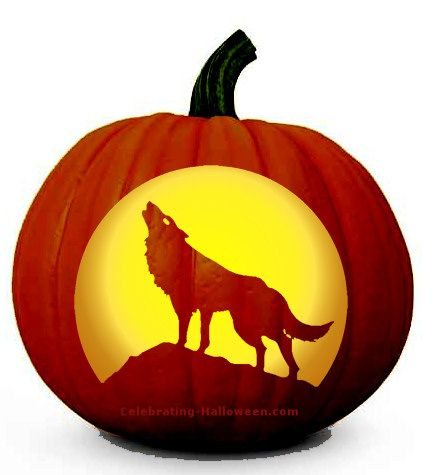 Howling Wolf and Full Moon Pumpkin Carving Pattern   Spooky ...